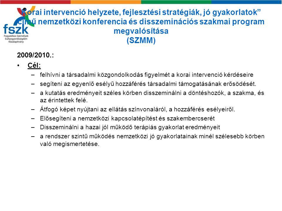 Korai intervenció helyzete, fejlesztési stratégiák, jó gyakorlatok című nemzetközi konferencia és disszeminációs szakmai program megvalósítása (SZMM)