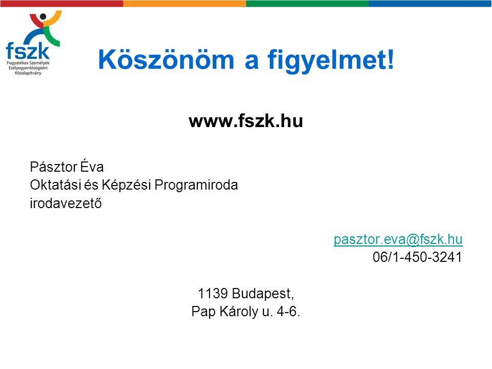 Köszönöm a figyelmet! www.fszk.hu Pásztor Éva