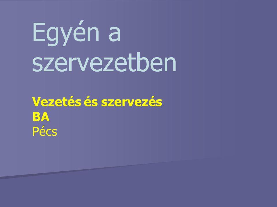 Egyén a szervezetben Vezetés és szervezés BA Pécs