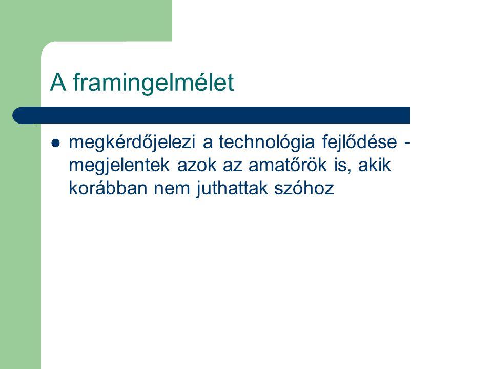 A framingelmélet megkérdőjelezi a technológia fejlődése - megjelentek azok az amatőrök is, akik korábban nem juthattak szóhoz.