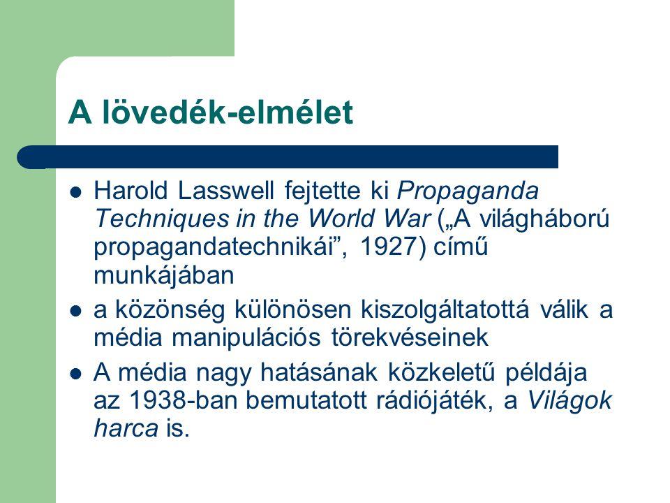 """A lövedék-elmélet Harold Lasswell fejtette ki Propaganda Techniques in the World War (""""A világháború propagandatechnikái , 1927) című munkájában."""