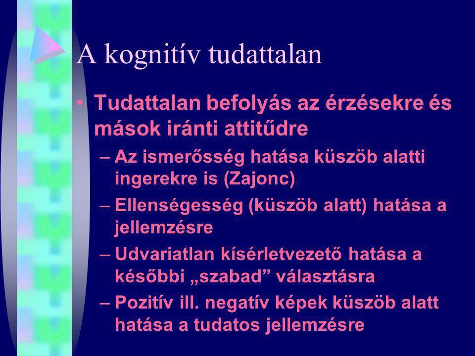 A kognitív tudattalan Tudattalan befolyás az érzésekre és mások iránti attitűdre. Az ismerősség hatása küszöb alatti ingerekre is (Zajonc)