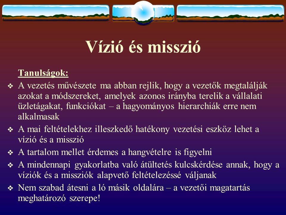 Vízió és misszió Tanulságok: