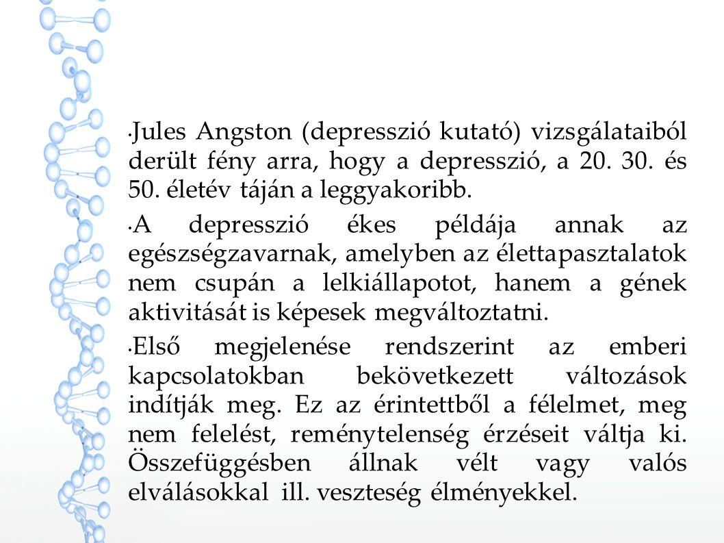 Jules Angston (depresszió kutató) vizsgálataiból derült fény arra, hogy a depresszió, a 20. 30. és 50. életév táján a leggyakoribb.