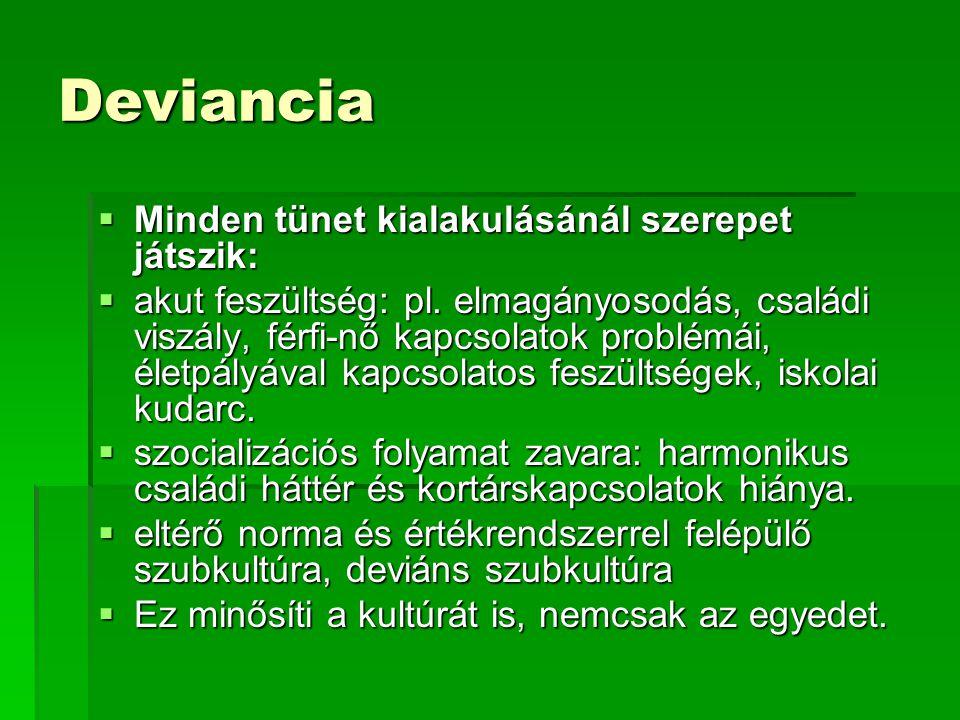 Deviancia Minden tünet kialakulásánál szerepet játszik:
