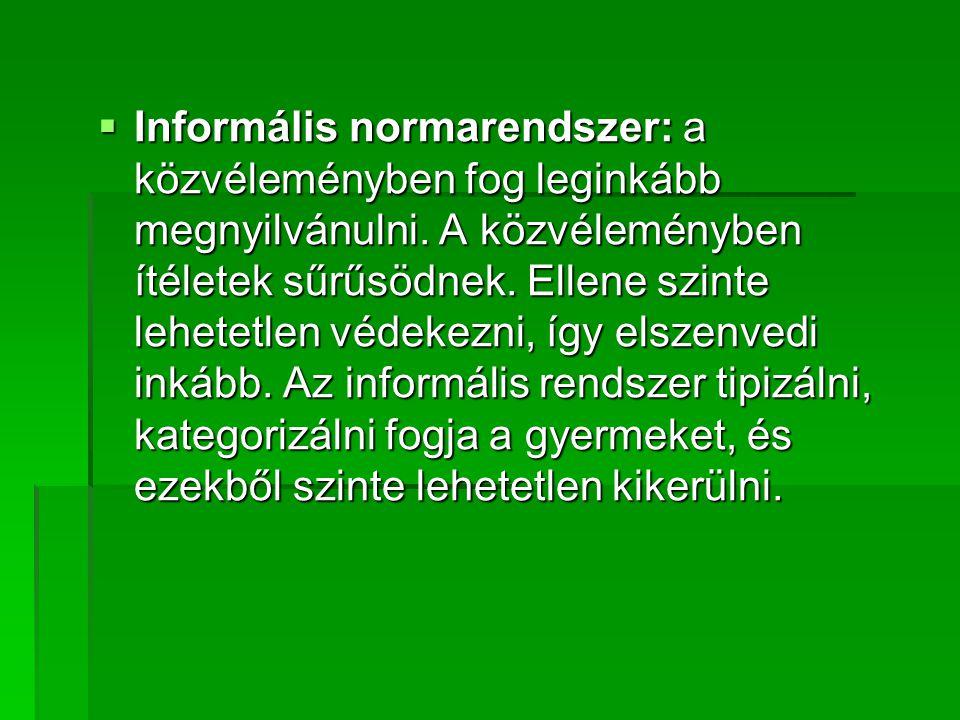 Informális normarendszer: a közvéleményben fog leginkább megnyilvánulni.
