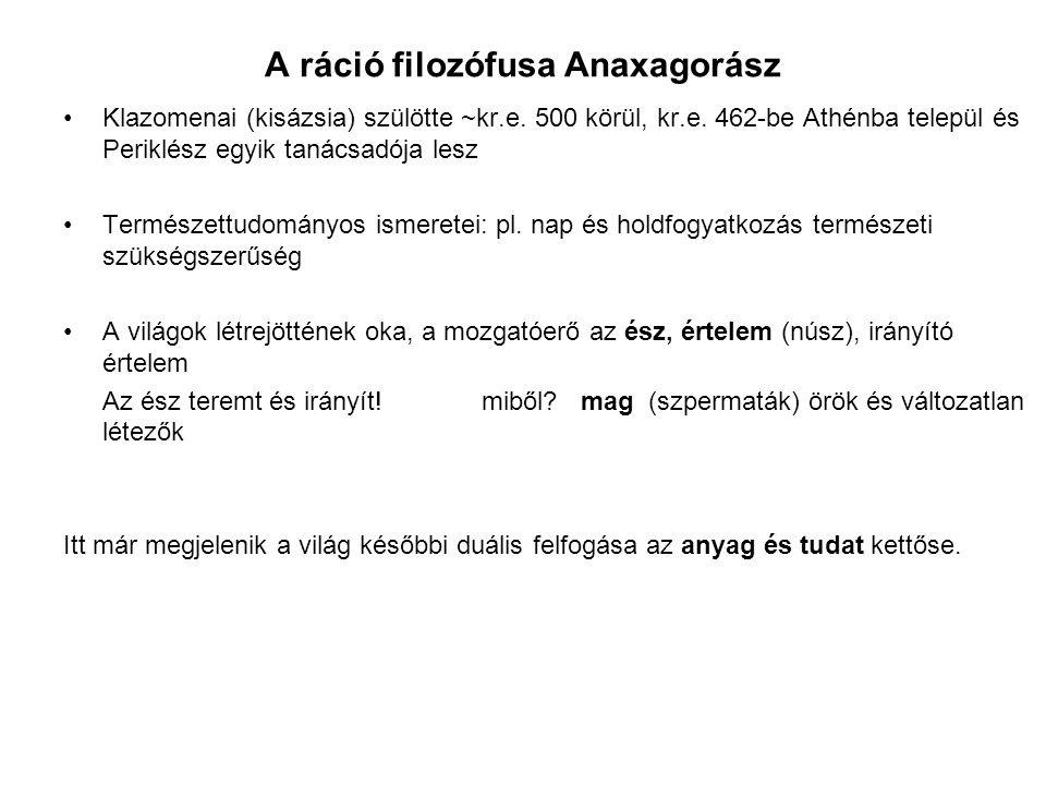 A ráció filozófusa Anaxagorász
