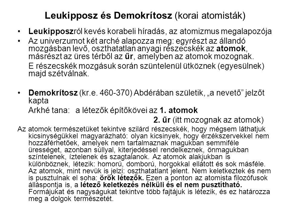 Leukipposz és Demokrítosz (korai atomisták)