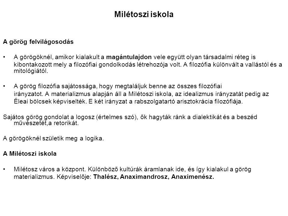 Milétoszi iskola A görög felvilágosodás