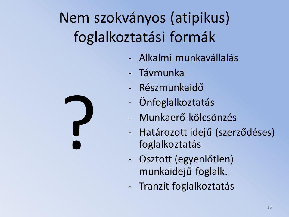 Nem szokványos (atipikus) foglalkoztatási formák
