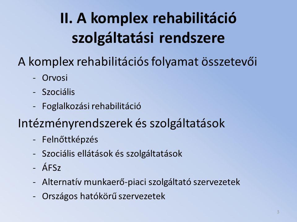 II. A komplex rehabilitáció szolgáltatási rendszere