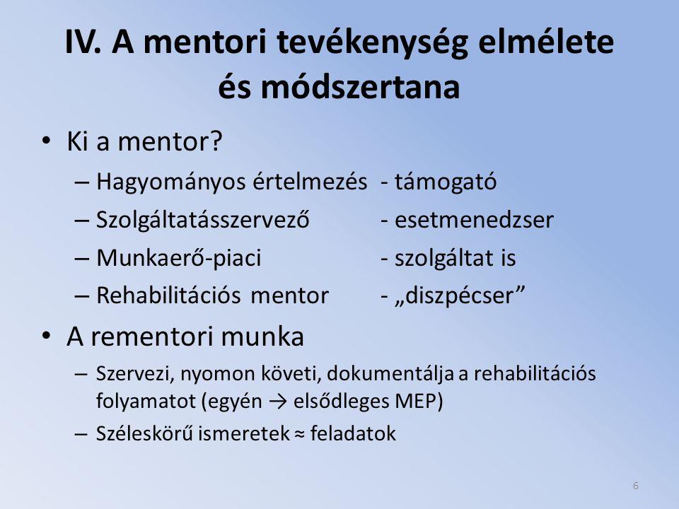 IV. A mentori tevékenység elmélete és módszertana