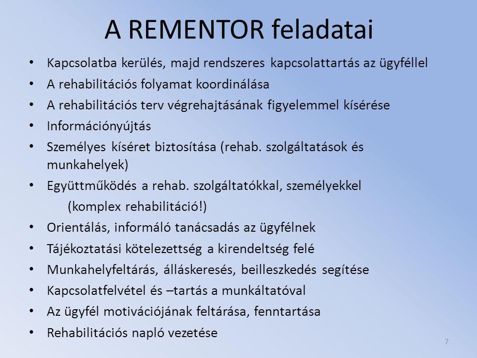 A REMENTOR feladatai Kapcsolatba kerülés, majd rendszeres kapcsolattartás az ügyféllel. A rehabilitációs folyamat koordinálása.