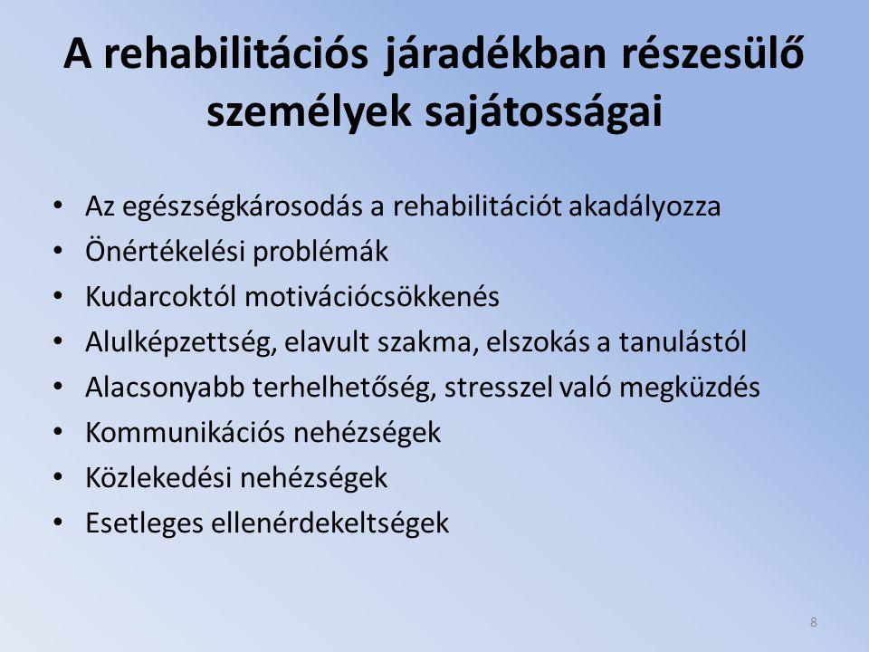A rehabilitációs járadékban részesülő személyek sajátosságai