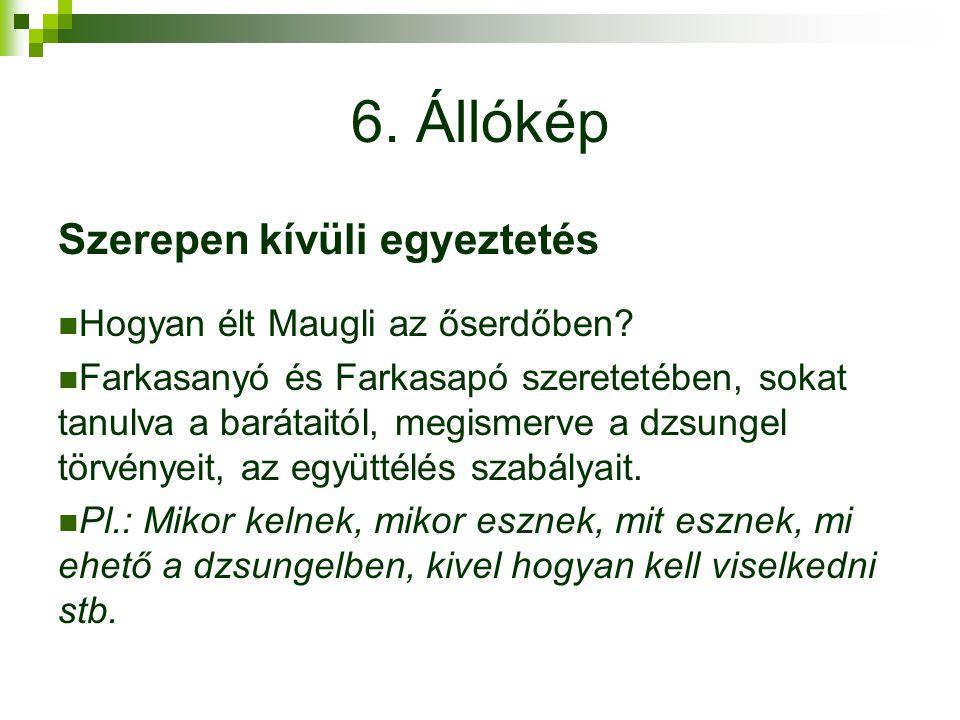6. Állókép Szerepen kívüli egyeztetés Hogyan élt Maugli az őserdőben