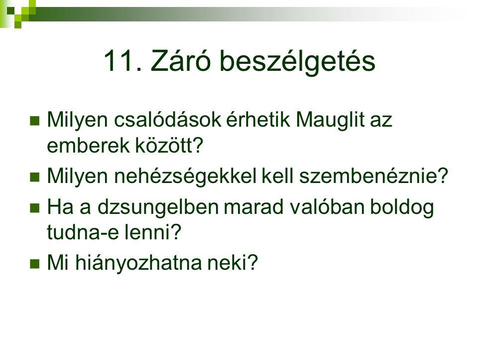 11. Záró beszélgetés Milyen csalódások érhetik Mauglit az emberek között Milyen nehézségekkel kell szembenéznie