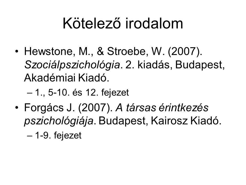 Kötelező irodalom Hewstone, M., & Stroebe, W. (2007). Szociálpszichológia. 2. kiadás, Budapest, Akadémiai Kiadó.
