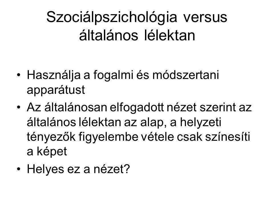 Szociálpszichológia versus általános lélektan