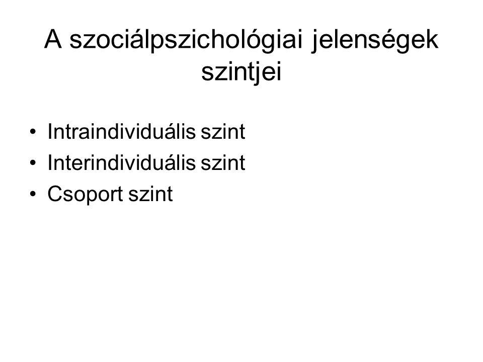 A szociálpszichológiai jelenségek szintjei