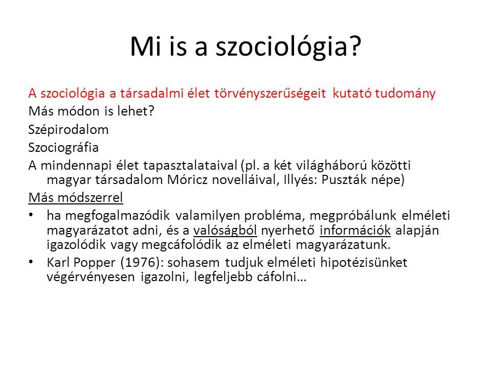 Mi is a szociológia A szociológia a társadalmi élet törvényszerűségeit kutató tudomány. Más módon is lehet
