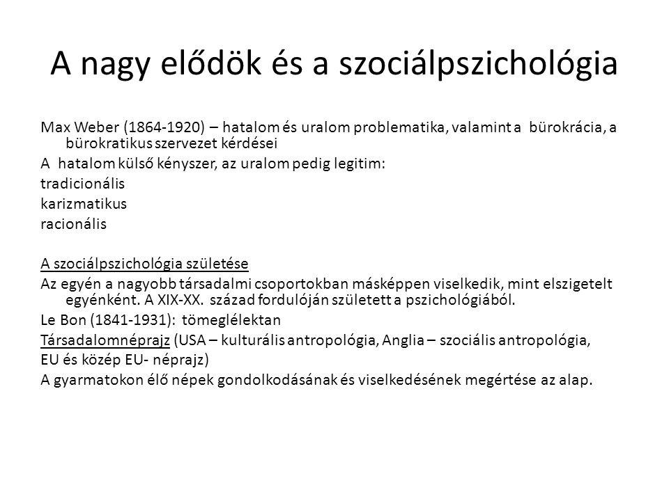 A nagy elődök és a szociálpszichológia