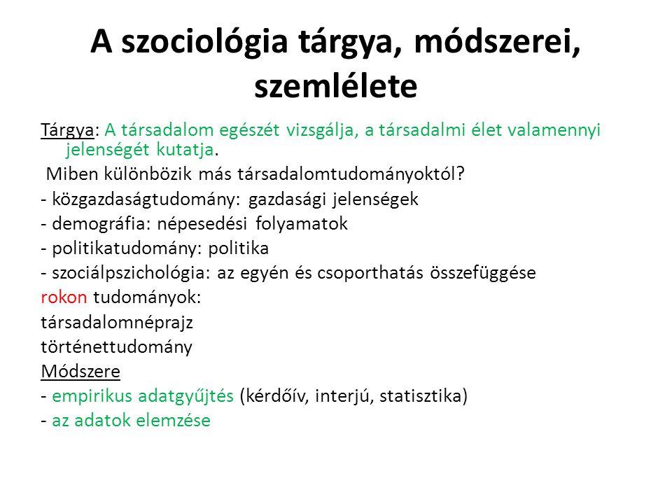 A szociológia tárgya, módszerei, szemlélete
