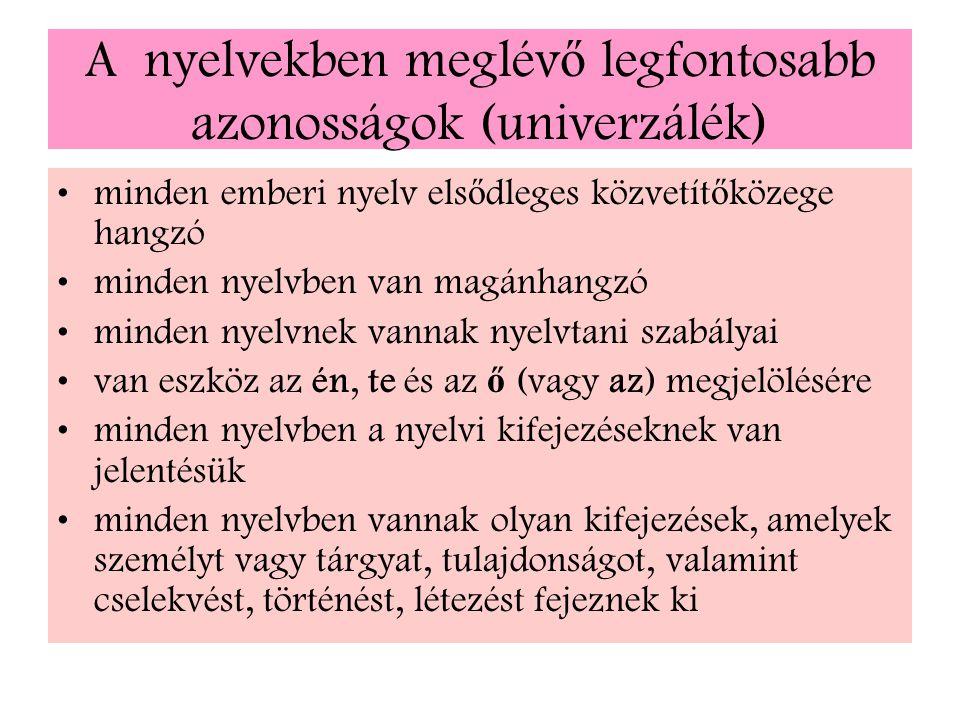 A nyelvekben meglévő legfontosabb azonosságok (univerzálék)