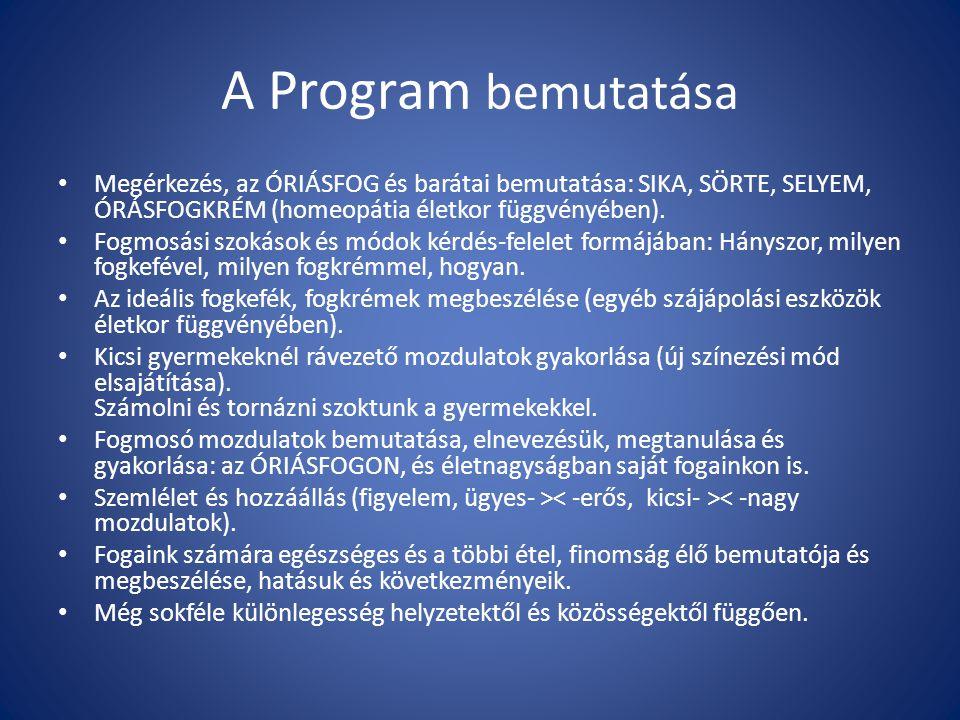 A Program bemutatása Megérkezés, az ÓRIÁSFOG és barátai bemutatása: SIKA, SÖRTE, SELYEM, ÓRÁSFOGKRÉM (homeopátia életkor függvényében).