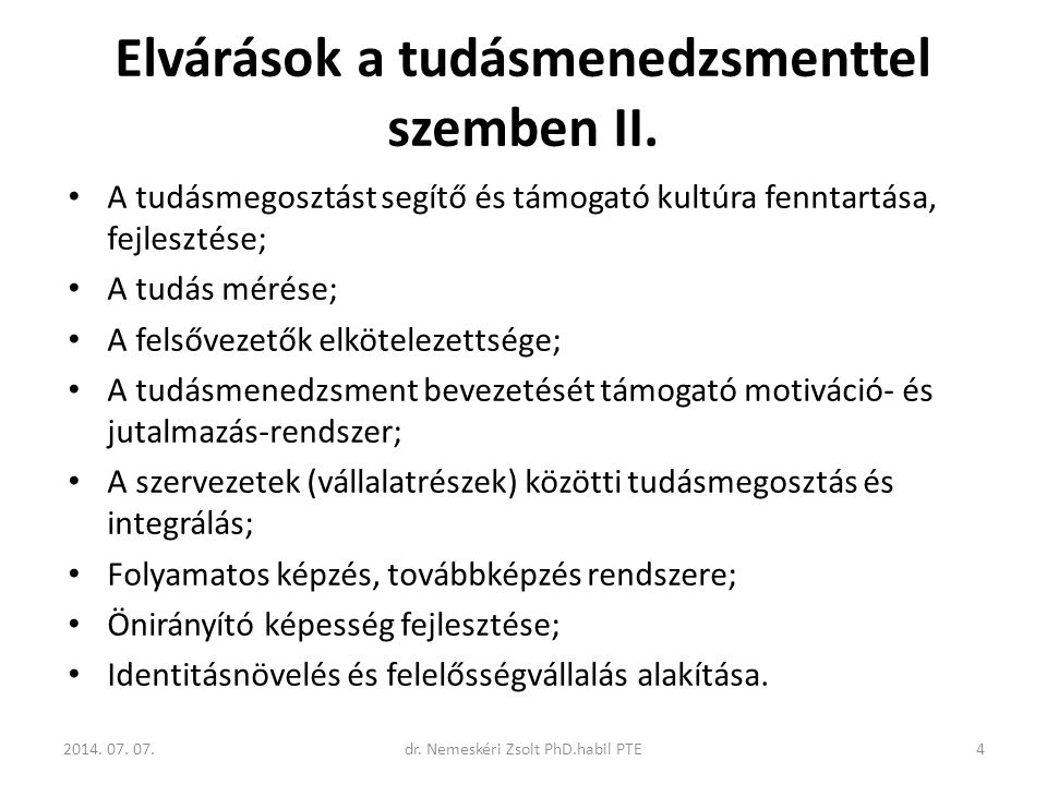 Elvárások a tudásmenedzsmenttel szemben II.