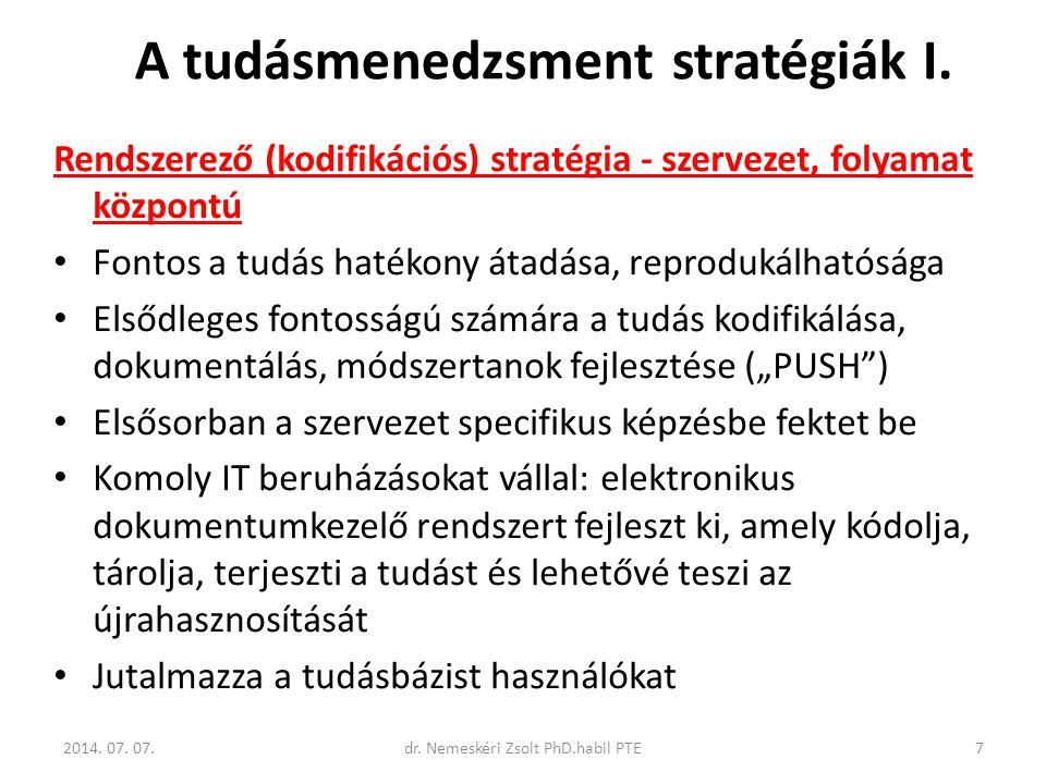 A tudásmenedzsment stratégiák I.