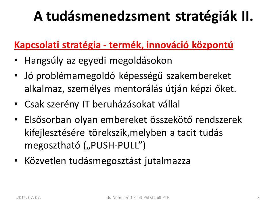 A tudásmenedzsment stratégiák II.