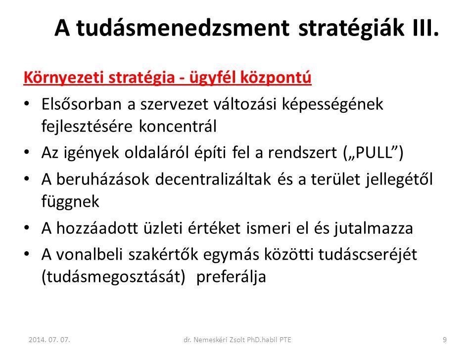 A tudásmenedzsment stratégiák III.