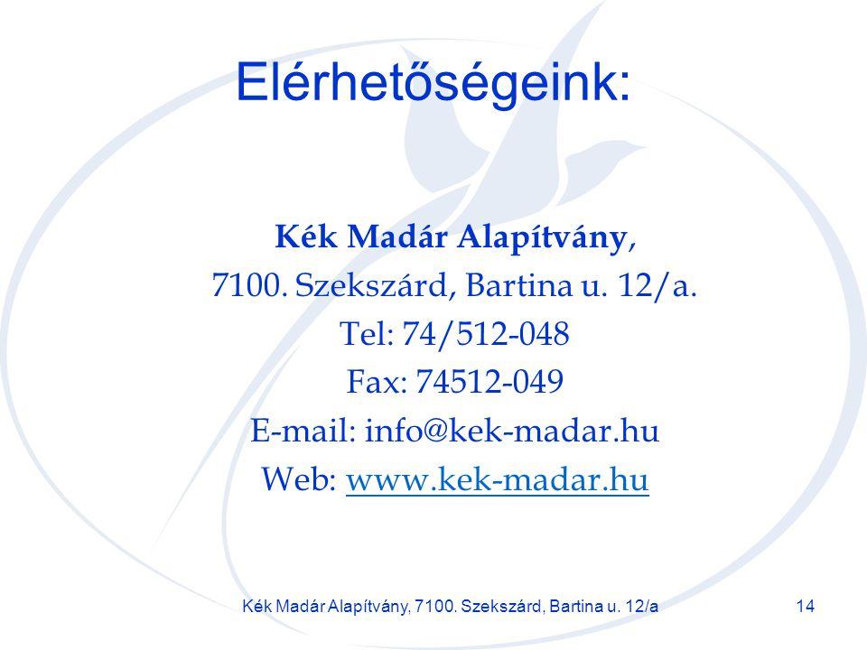Elérhetőségeink: Kék Madár Alapítvány,