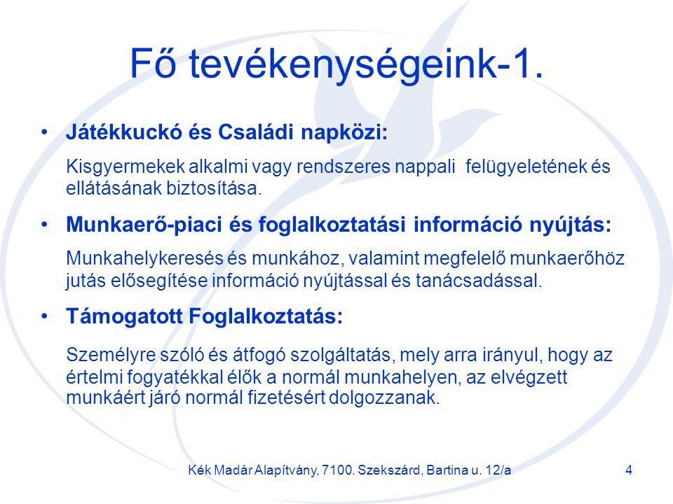 Kék Madár Alapítvány, 7100. Szekszárd, Bartina u. 12/a
