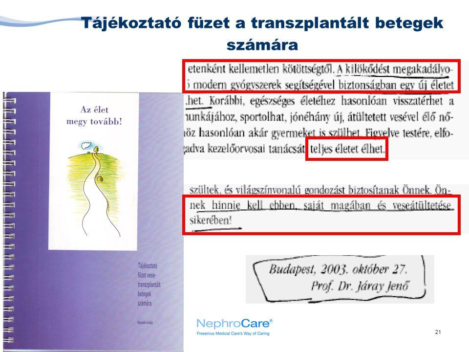 Tájékoztató füzet a transzplantált betegek számára