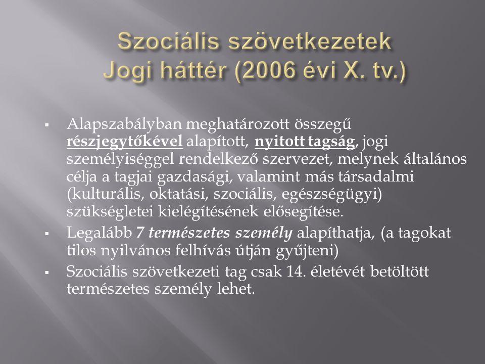 Szociális szövetkezetek Jogi háttér (2006 évi X. tv.)