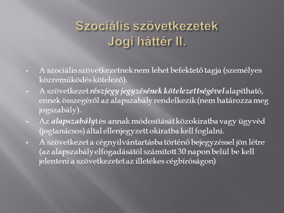 Szociális szövetkezetek Jogi háttér II.