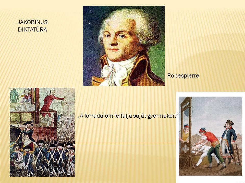 "JAKOBINUS DIKTATÚRA Robespierre ""A forradalom felfalja saját gyermekeit"