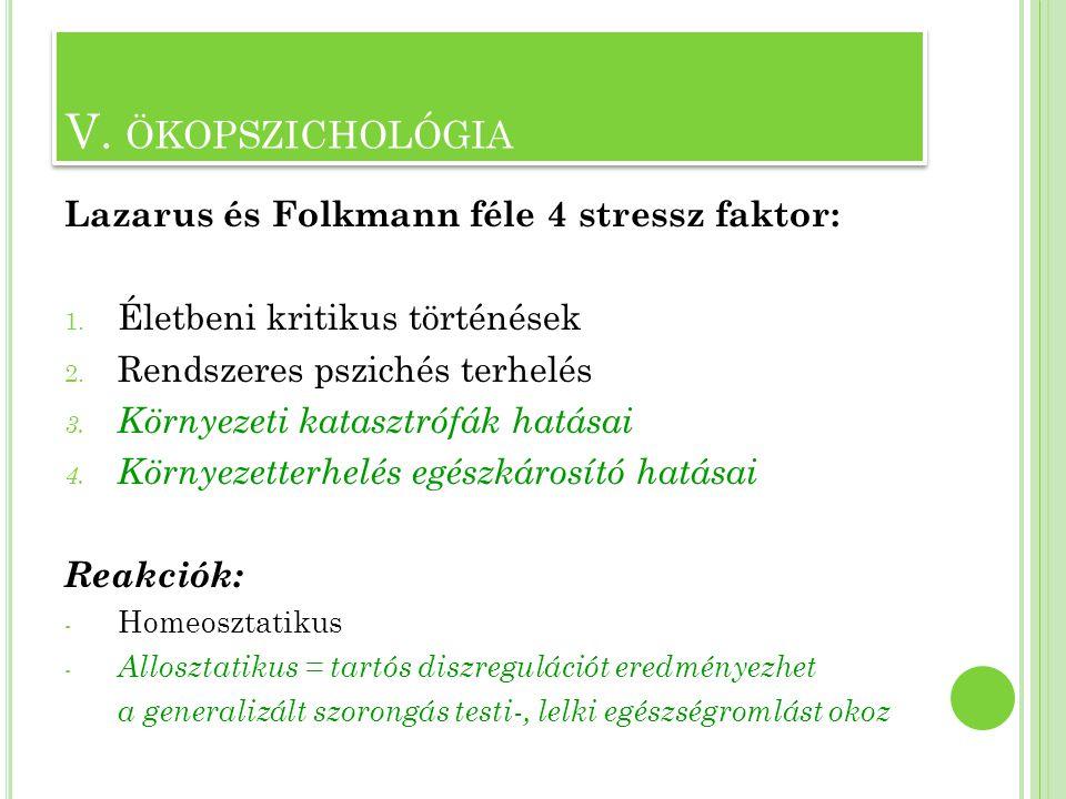 V. ökopszichológia Lazarus és Folkmann féle 4 stressz faktor: