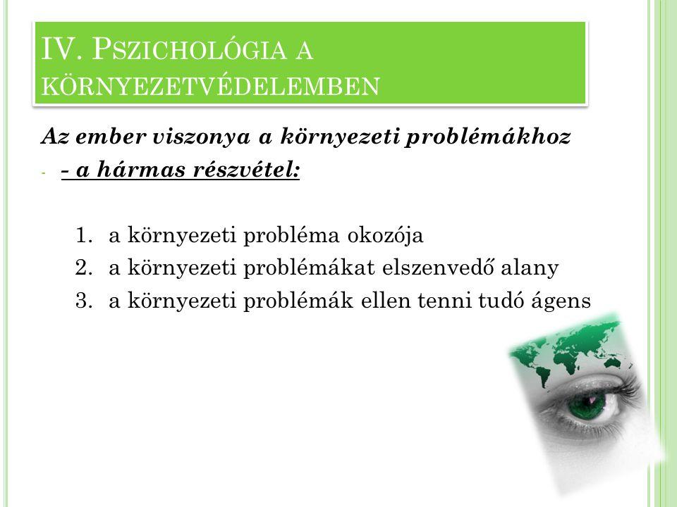 IV. Pszichológia a környezetvédelemben