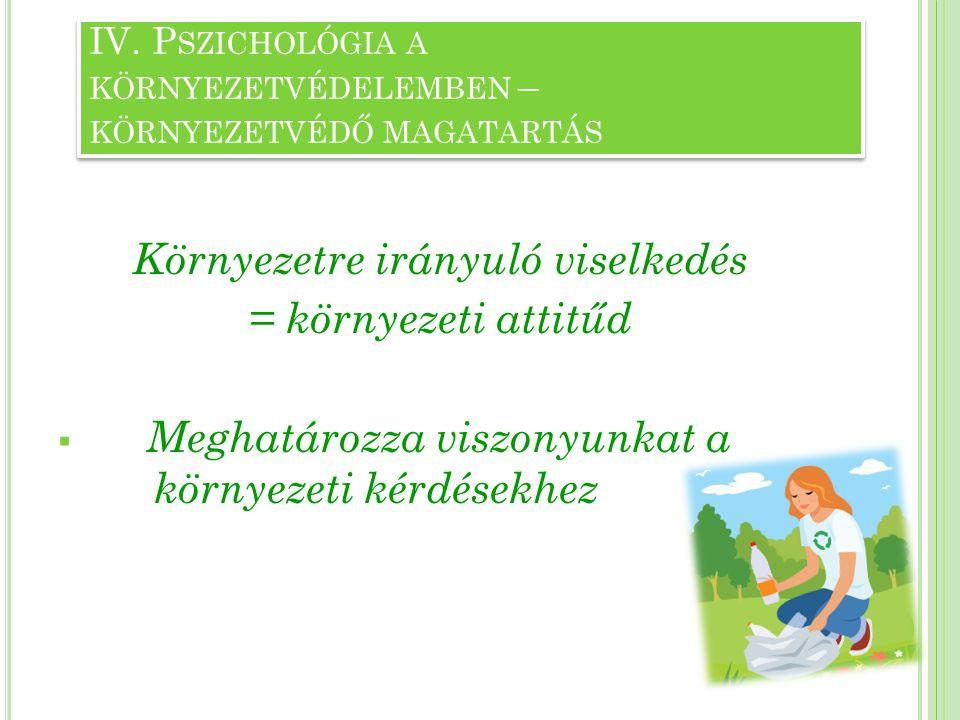 IV. Pszichológia a környezetvédelemben – környezetvédő magatartás