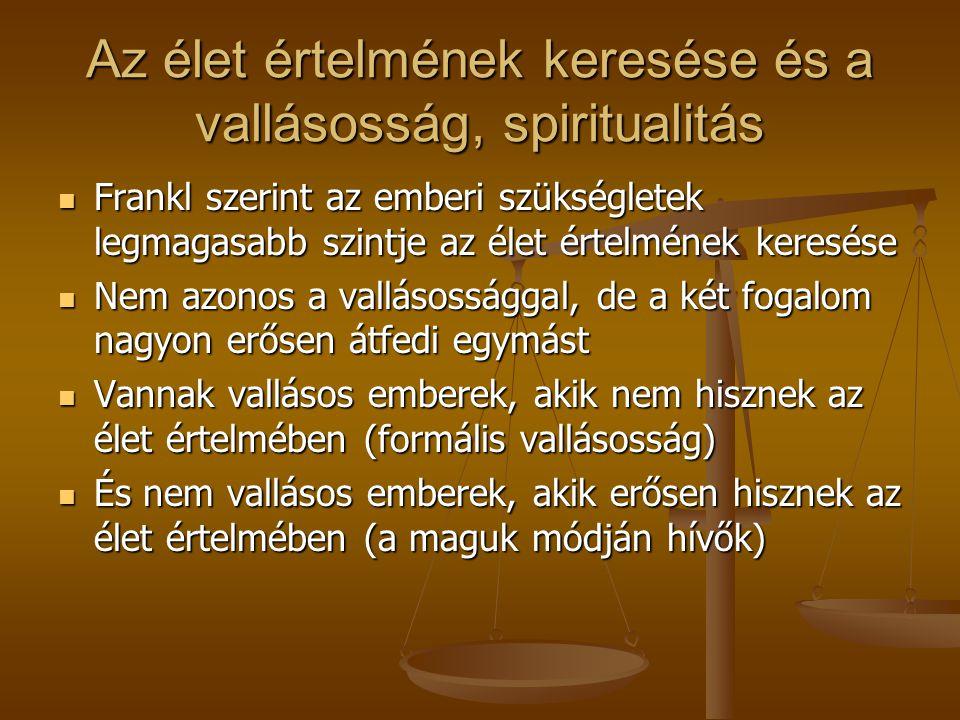 Az élet értelmének keresése és a vallásosság, spiritualitás
