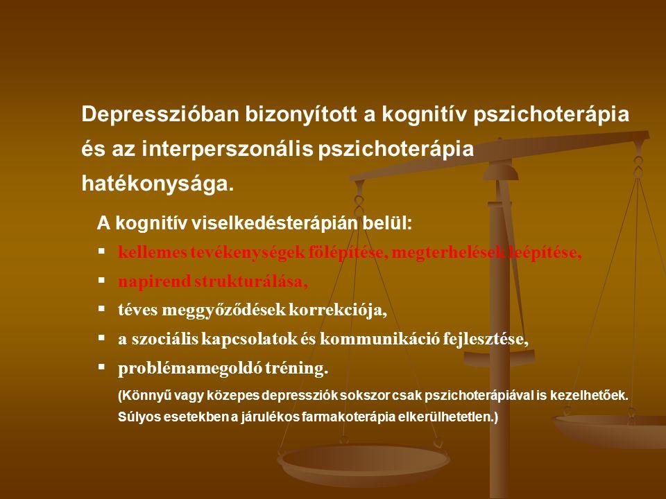 Depresszióban bizonyított a kognitív pszichoterápia és az interperszonális pszichoterápia hatékonysága.