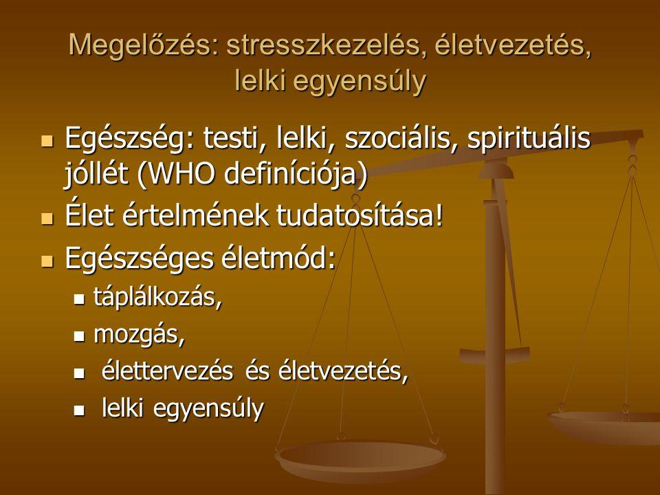 Megelőzés: stresszkezelés, életvezetés, lelki egyensúly