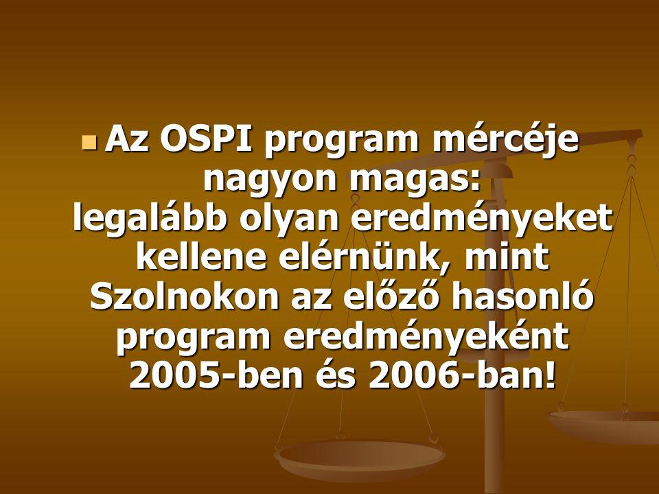 Az OSPI program mércéje nagyon magas: legalább olyan eredményeket kellene elérnünk, mint Szolnokon az előző hasonló program eredményeként 2005-ben és 2006-ban!