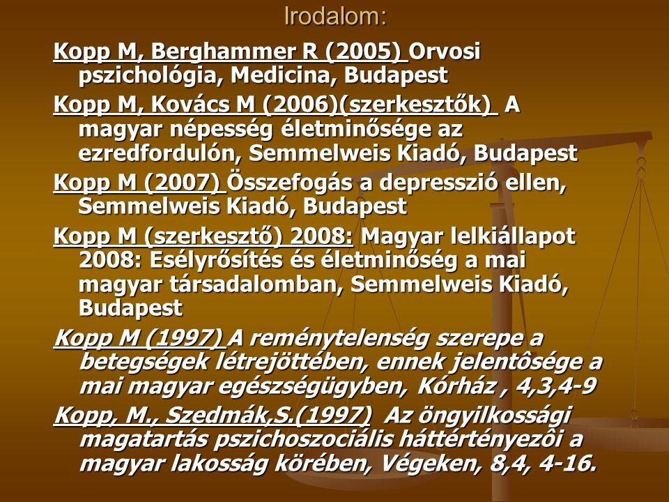 Irodalom: Kopp M, Berghammer R (2005) Orvosi pszichológia, Medicina, Budapest.