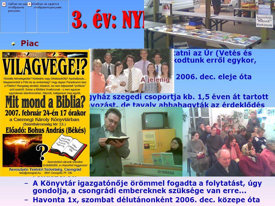 3. év: NYISSATOK KIFELÉ! Piac Könyvtári Bibliai Előadások