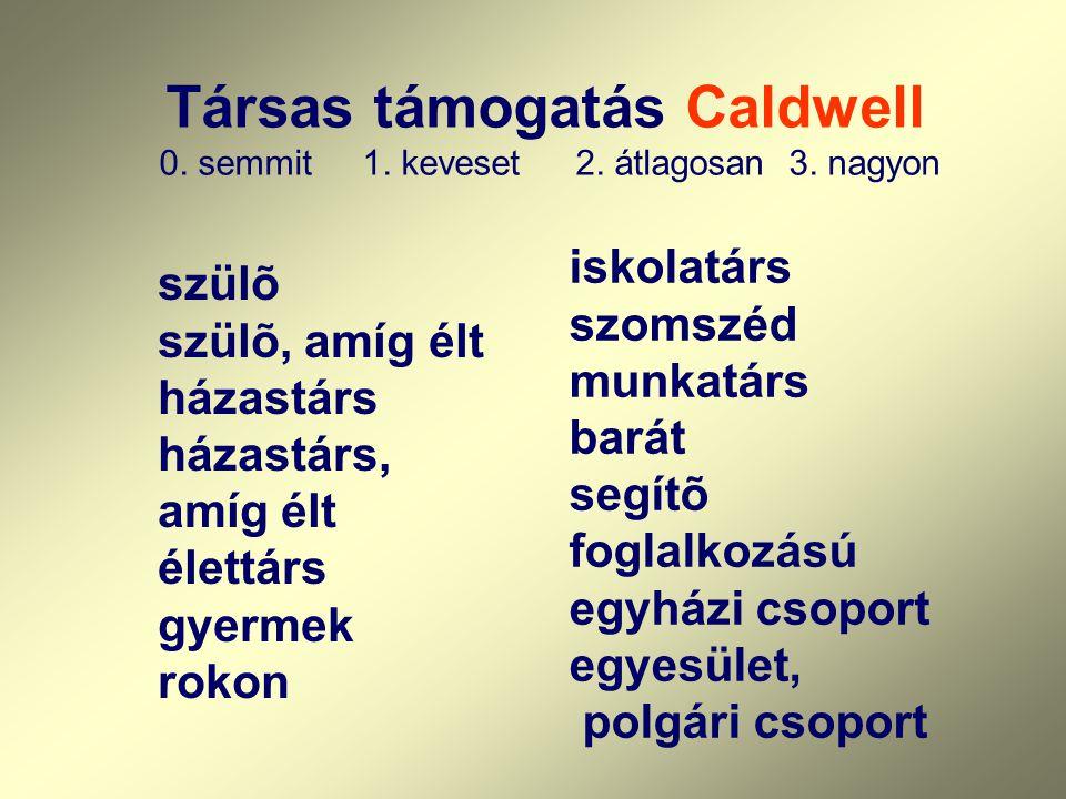 Társas támogatás Caldwell 0. semmit 1. keveset 2. átlagosan 3. nagyon