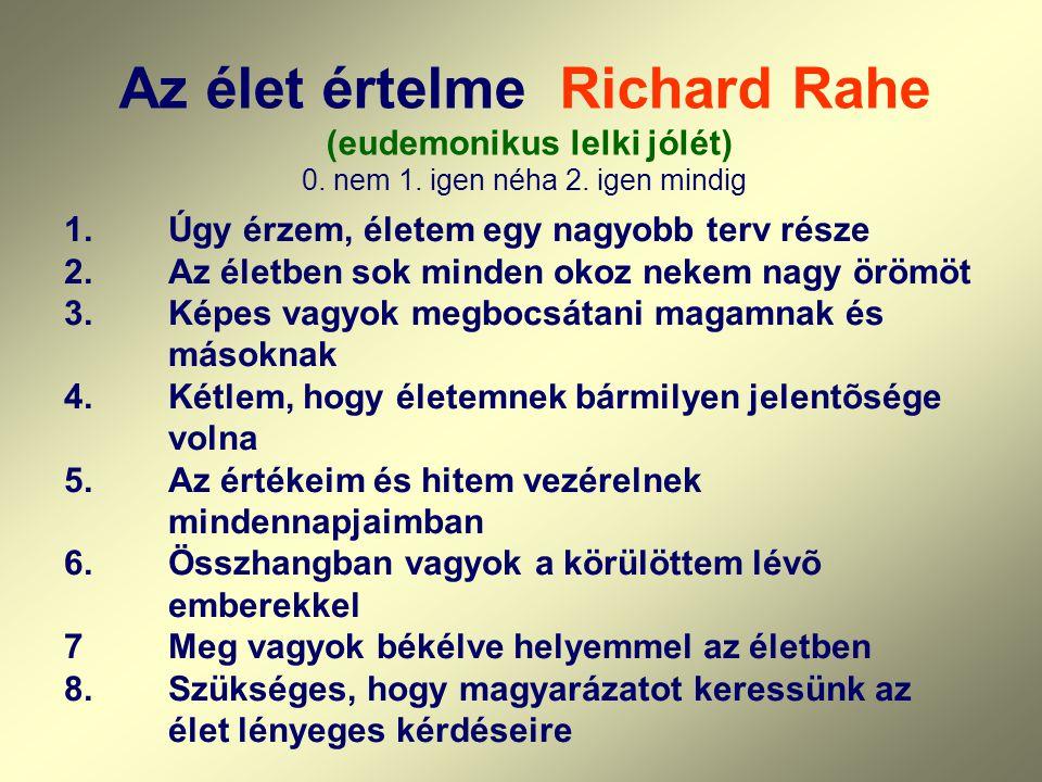Az élet értelme Richard Rahe (eudemonikus lelki jólét) 0. nem 1