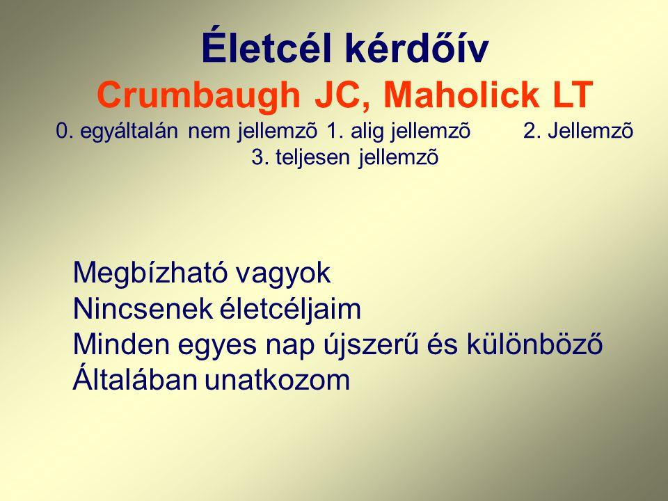 Életcél kérdőív Crumbaugh JC, Maholick LT